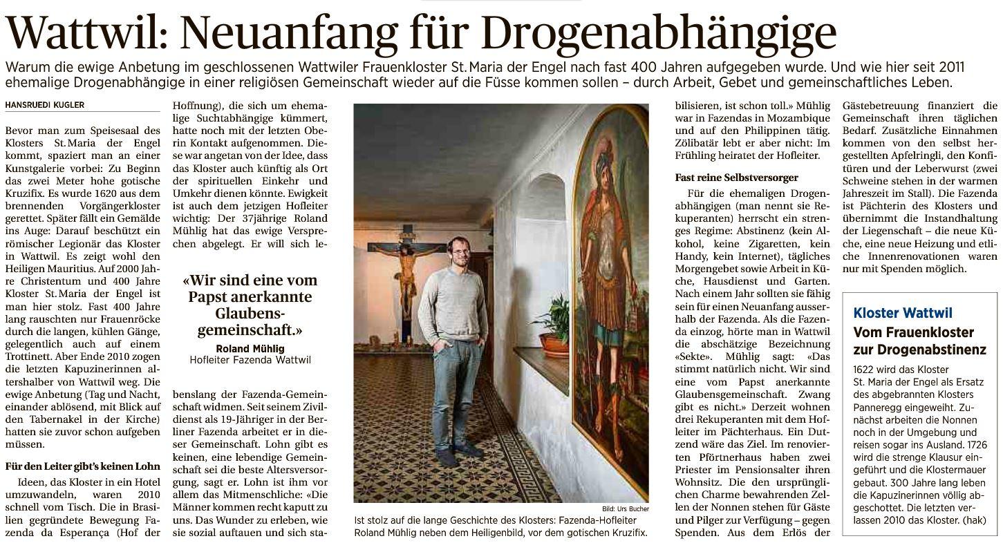 Zeitungsbericht im Toggenburger Tagblatt vom 13. Feb. 2016