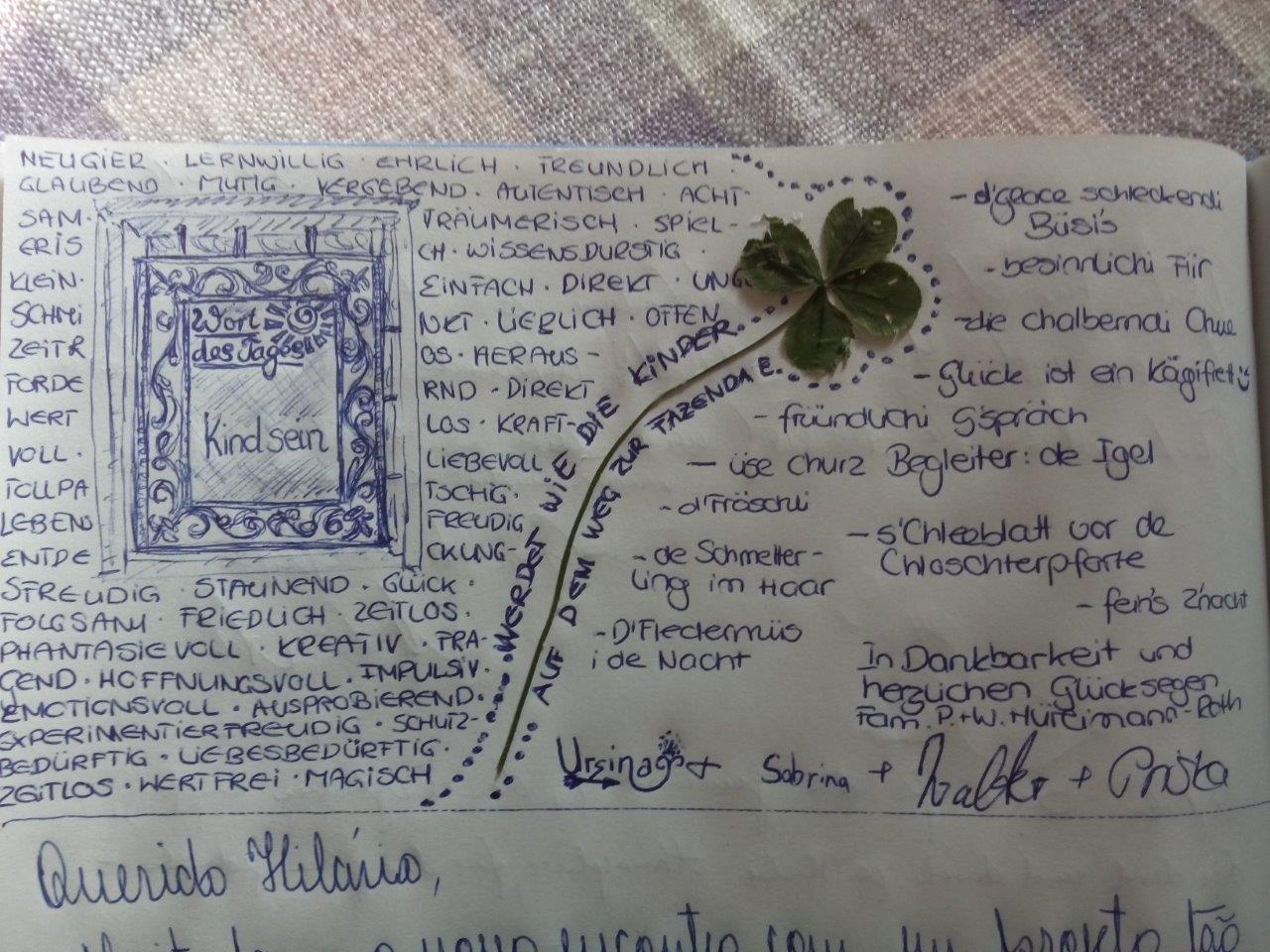 Eine Familie mit zwei Kindern aus dem Kanton Zug verbrachte zwei Nächte bei uns. Sabrina, die ältere Tochter, fand auf dem Weg und auch bei der Klosterpforte ein vierblättriges Kleeblatt.